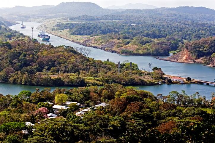 Ship navigates the Panama Canal