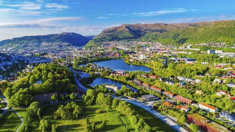 Aerial photo of Bergen city, Bergen, Norway