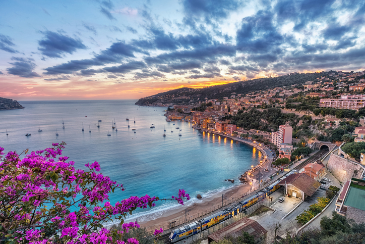 Aerial view of Villefranche-sur-Mer and the bay of Villefranche on sunset, Alpes-Maritimes, France