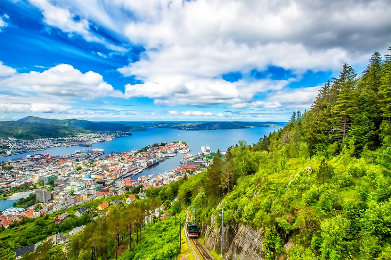 View on Bergen and harbor from the mountain Floyen top