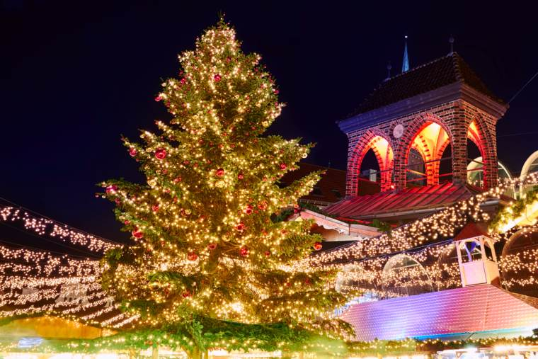 Traditional christmas market in Lubeck, Germany.