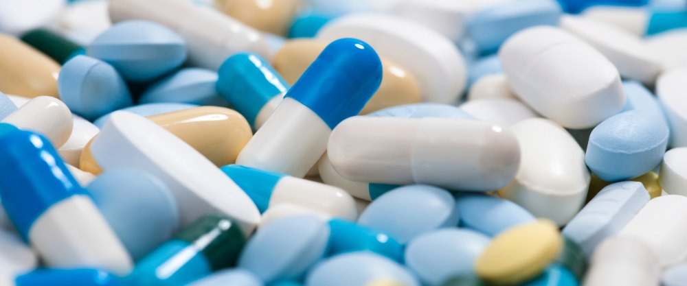 Heap of medicine pills.  Background made from colorful pills and capsules