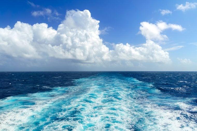 Ocean wake at sea from a cruise ship