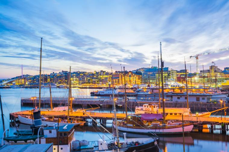Oslo city with boats and yachts at twilight