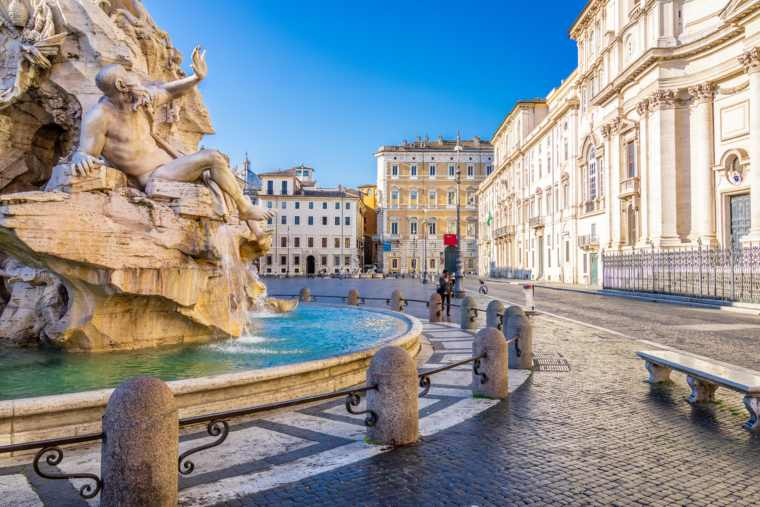 Piazza Navona, Rome. On the foreground the Four Rivers fountain by Bernini