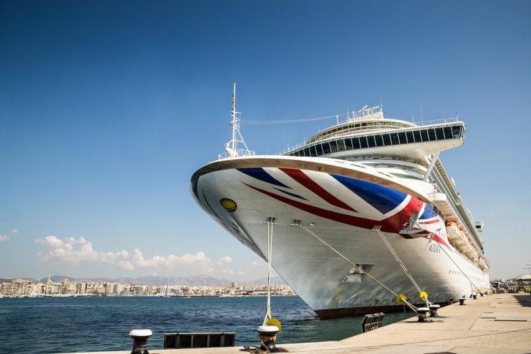 P&O Cruises Azura docked at sea