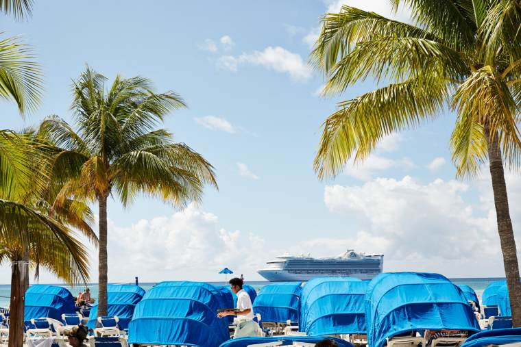 Princess Cruises ship docked at Princess Cays