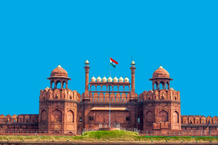 Red Fort Lal Qila with Indian flag India