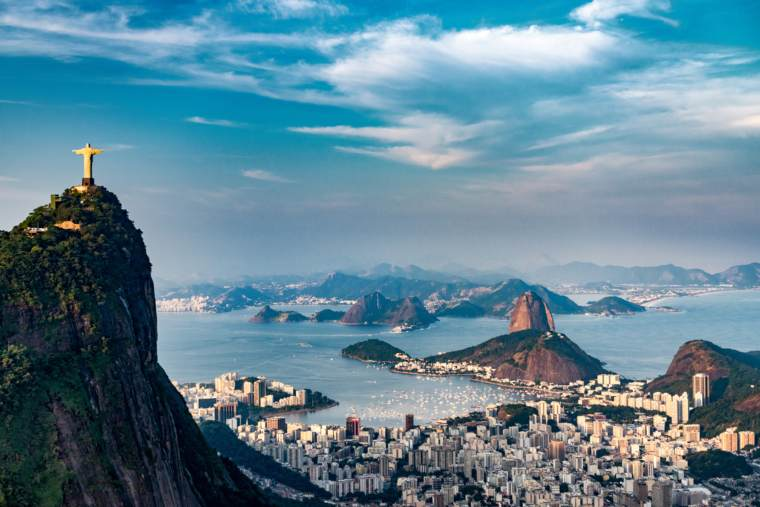 Rio De Janeiro Aerial with one the seven wonders of the world, Christ the Redeemer in the background