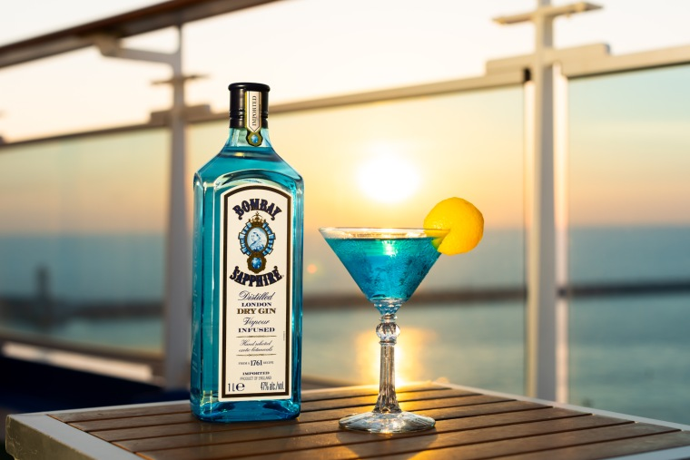 Sapphire Princess cocktail in partnership with Bombay Sapphire distillery