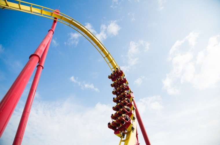 Skyward view of the loop of a roller coaster (1)