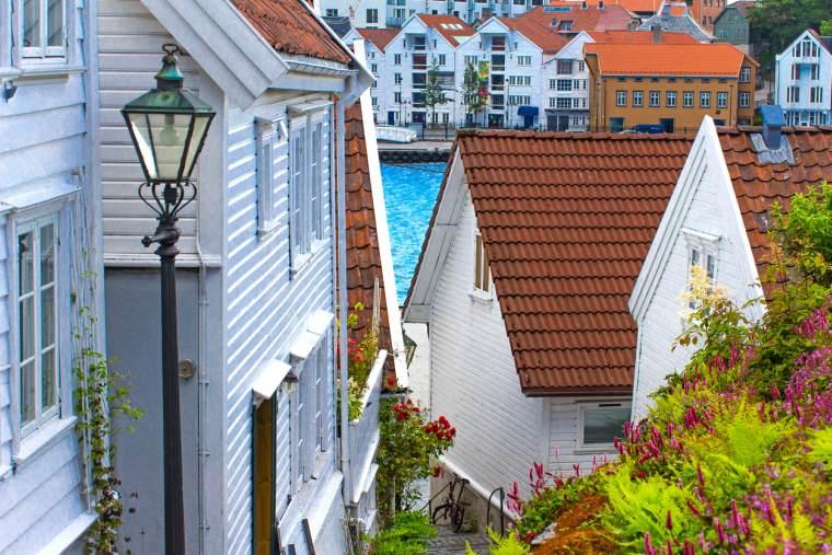 View of Stavanger, Norway, row of old houses in Stavanger, Norwegian Fjords