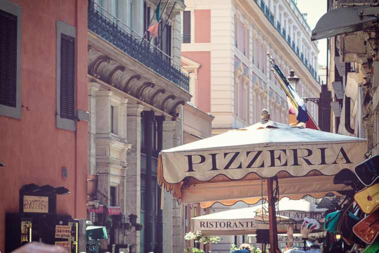 Street of Rome lined with restaurants