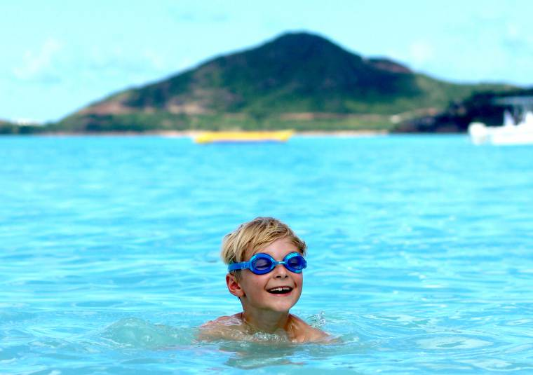 Swimming in the sea in St Lucia, Caribbean cruise with the family