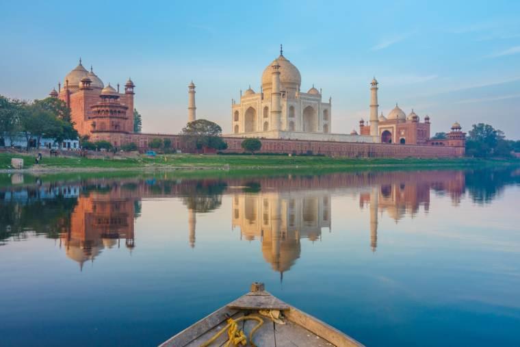 Taj Mahal in Agra from the Yamuna River