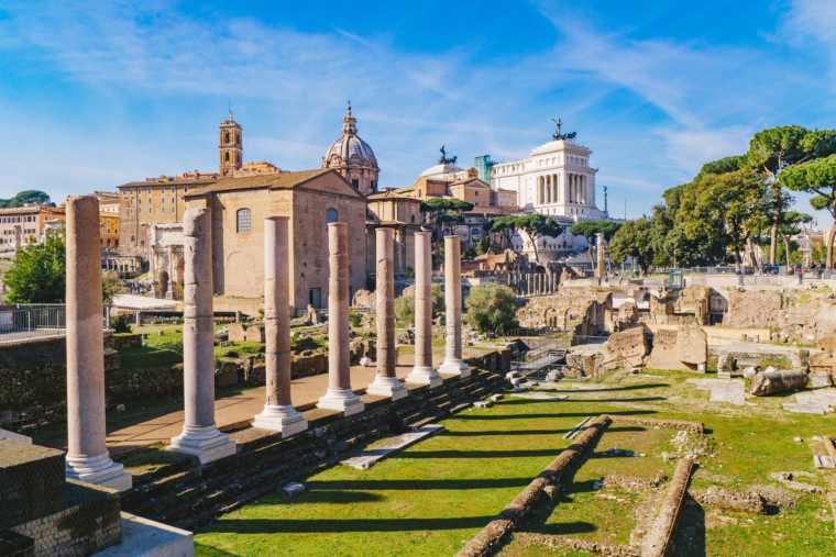 The ancient Roman columns in the Roman Forum