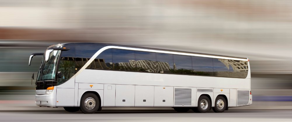 Tour bus with added motion blur