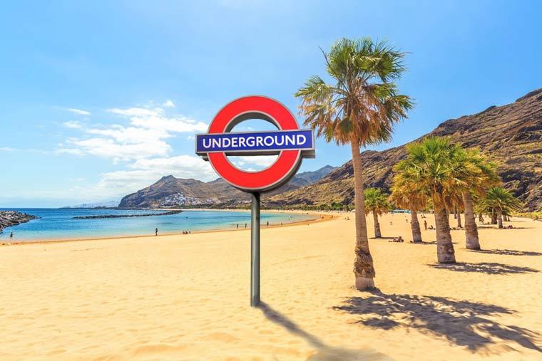 Underground sign on the beach