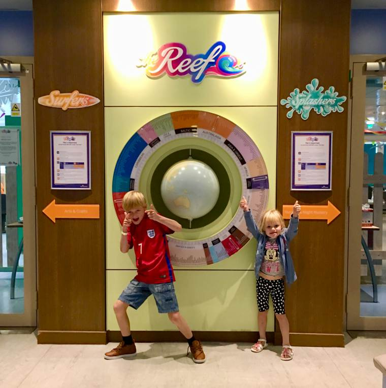 William and Lucy read for the kids club, Reef Kids Club P&O Cruises