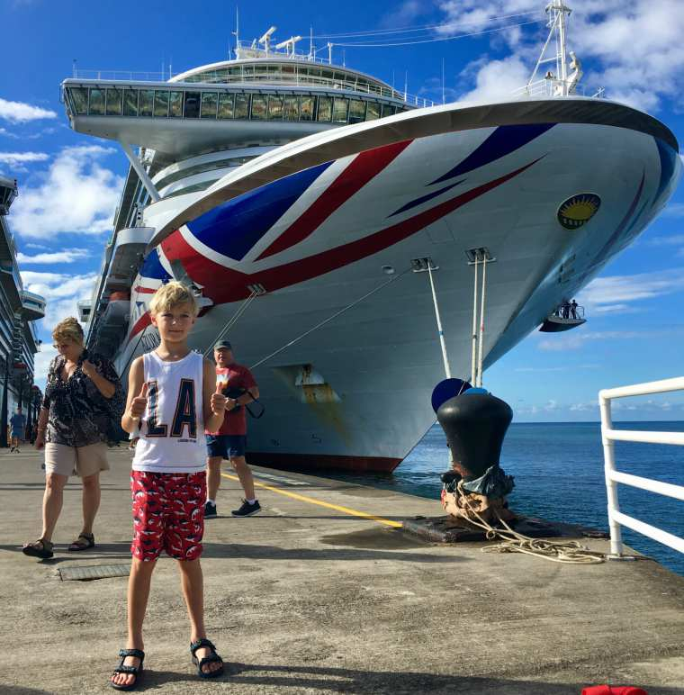William standing by P&O Cruises Azura in the Caribbean
