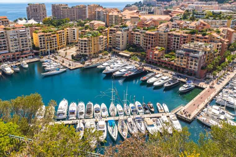 Yachts docked in Port de Fontvieille, Principality of Monaco