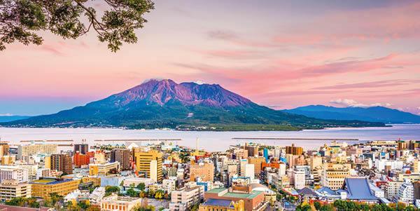 Kagoshima with a view of Sakurajima mountain