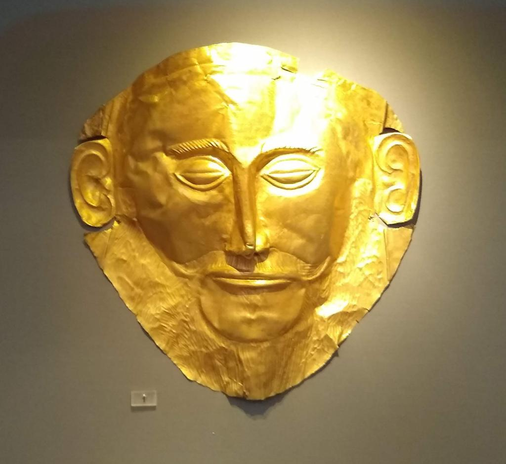 """Gold Mask of Agamemnon - the """"Mona Lisa of Prehistory"""" - funeral mask - 1600BC - National Archaeological Museum Athens"""