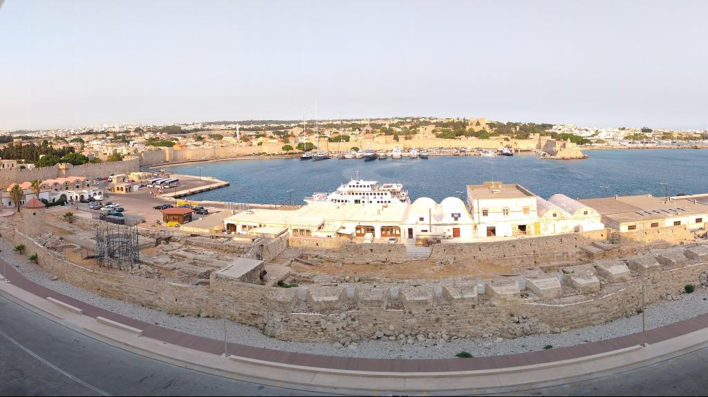 This morning's view from the balcony of Rhodes Old Town