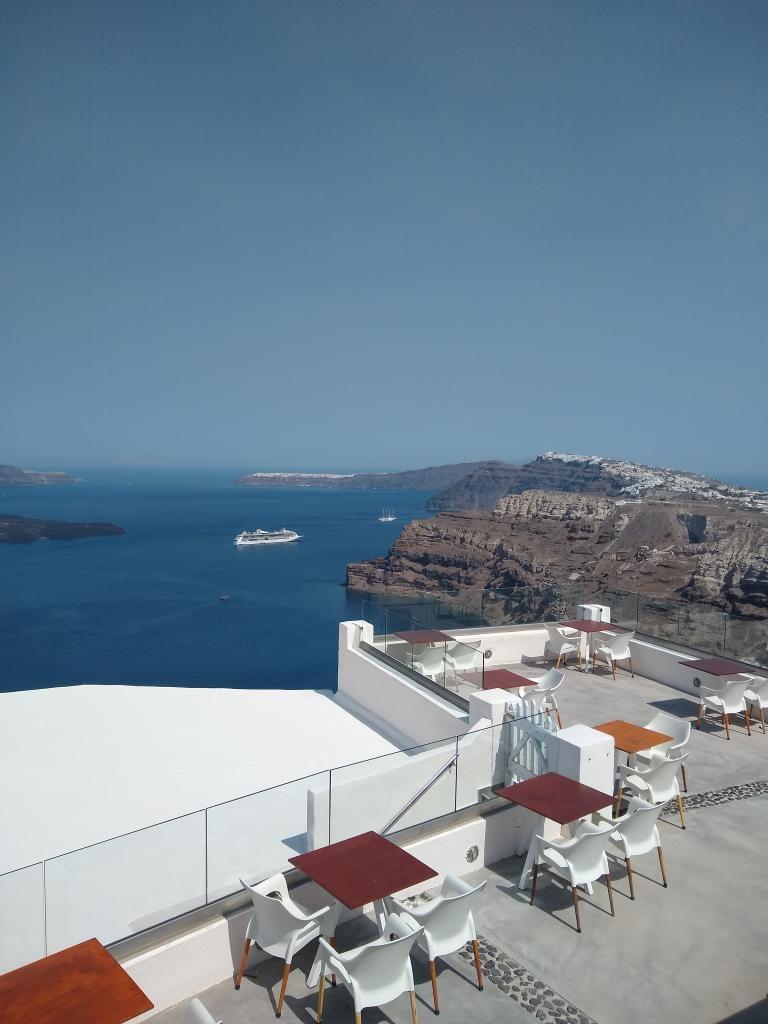 Breathtaking views over Santorini of Jewel of the Seas from Santo Wines veranda
