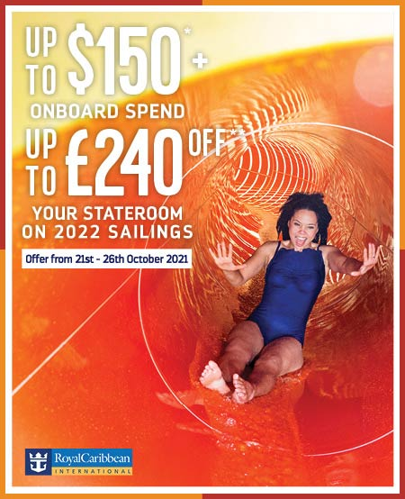 Royal Caribbean save up to £240 off and including up to $150 onboard spend1